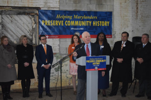 Senator Ben Cardin (D-MD) speaking at HTC project, the Phillips Packing Plant in Cambridge, MD on March 10th. Photo: Preservation Maryland